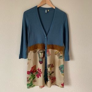 Anthro Knitted & Knotted Cardigan Blue and Floral